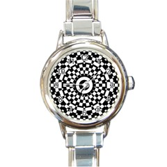 Checkered Black White Tile Mosaic Pattern Round Italian Charm Watch by CrypticFragmentsColors