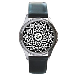Checkered Black White Tile Mosaic Pattern Round Metal Watch by CrypticFragmentsColors