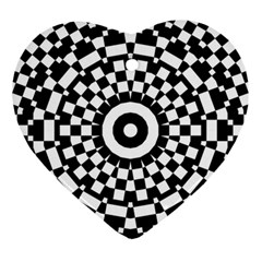 Checkered Black White Tile Mosaic Pattern Ornament (heart) by CrypticFragmentsColors