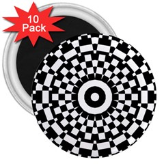 Checkered Black White Tile Mosaic Pattern 3  Magnets (10 Pack)  by CrypticFragmentsColors