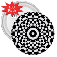 Checkered Black White Tile Mosaic Pattern 3  Buttons (100 Pack)  by CrypticFragmentsColors