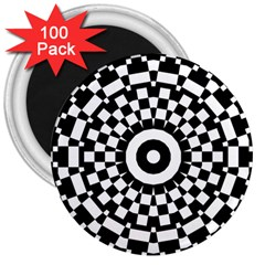 Checkered Black White Tile Mosaic Pattern 3  Magnets (100 Pack) by CrypticFragmentsColors