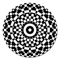 Checkered Black White Tile Mosaic Pattern Magnet 5  (round) by CrypticFragmentsColors