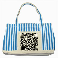 Checkered Black White Tile Mosaic Pattern Striped Blue Tote Bag by CrypticFragmentsColors