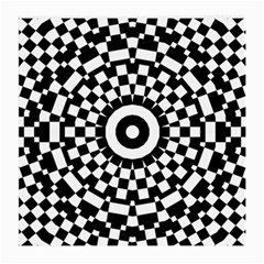Checkered Black White Tile Mosaic Pattern Medium Glasses Cloth by CrypticFragmentsColors