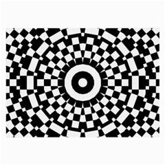 Checkered Black White Tile Mosaic Pattern Large Glasses Cloth (2 Side) by CrypticFragmentsColors
