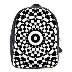 Checkered Black White Tile Mosaic Pattern School Bags(large)