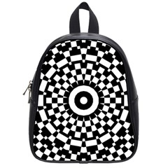 Checkered Black White Tile Mosaic Pattern School Bags (small)