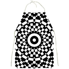 Checkered Black White Tile Mosaic Pattern Full Print Aprons by CrypticFragmentsColors