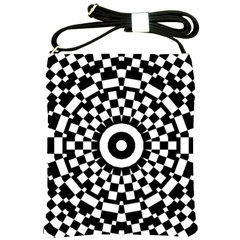 Checkered Black White Tile Mosaic Pattern Shoulder Sling Bags