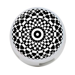 Checkered Black White Tile Mosaic Pattern 4 Port Usb Hub (one Side)