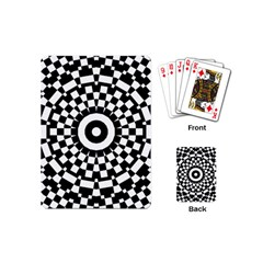Checkered Black White Tile Mosaic Pattern Playing Cards (mini)  by CrypticFragmentsColors