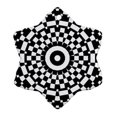 Checkered Black White Tile Mosaic Pattern Ornament (snowflake) by CrypticFragmentsColors