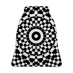 Checkered Black White Tile Mosaic Pattern Ornament (bell) by CrypticFragmentsColors