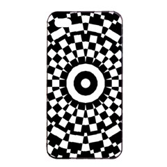 Checkered Black White Tile Mosaic Pattern Apple Iphone 4/4s Seamless Case (black) by CrypticFragmentsColors