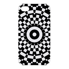 Checkered Black White Tile Mosaic Pattern Apple Iphone 4/4s Hardshell Case by CrypticFragmentsColors