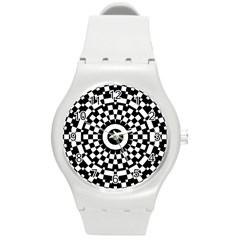 Checkered Black White Tile Mosaic Pattern Round Plastic Sport Watch (m) by CrypticFragmentsColors