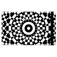 Checkered Black White Tile Mosaic Pattern Apple Ipad 2 Flip Case by CrypticFragmentsColors