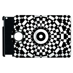 Checkered Black White Tile Mosaic Pattern Apple Ipad 3/4 Flip 360 Case by CrypticFragmentsColors