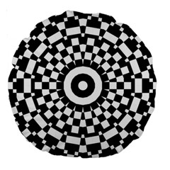 Checkered Black White Tile Mosaic Pattern Large 18  Premium Round Cushions by CrypticFragmentsColors
