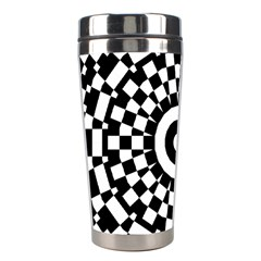 Checkered Black White Tile Mosaic Pattern Stainless Steel Travel Tumblers by CrypticFragmentsColors