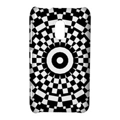 Checkered Black White Tile Mosaic Pattern Nokia Lumia 620 by CrypticFragmentsColors