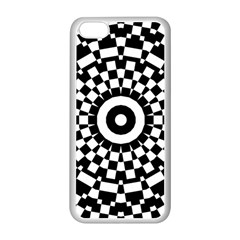 Checkered Black White Tile Mosaic Pattern Apple Iphone 5c Seamless Case (white) by CrypticFragmentsColors