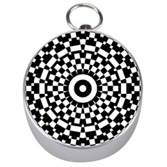 Checkered Black White Tile Mosaic Pattern Silver Compasses by CrypticFragmentsColors