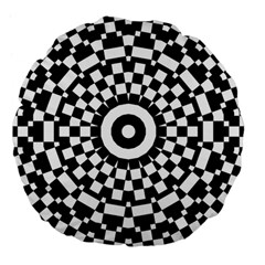 Checkered Black White Tile Mosaic Pattern Large 18  Premium Flano Round Cushions by CrypticFragmentsColors