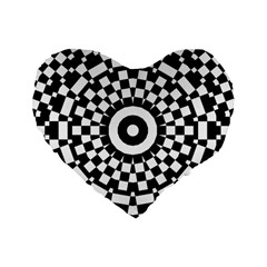 Checkered Black White Tile Mosaic Pattern Standard 16  Premium Flano Heart Shape Cushions by CrypticFragmentsColors