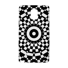 Checkered Black White Tile Mosaic Pattern Samsung Galaxy Note 4 Hardshell Case by CrypticFragmentsColors