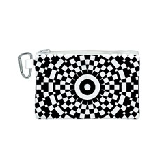 Checkered Black White Tile Mosaic Pattern Canvas Cosmetic Bag (s) by CrypticFragmentsColors