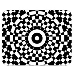 Checkered Black White Tile Mosaic Pattern Double Sided Flano Blanket (medium)  by CrypticFragmentsColors