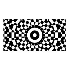 Checkered Black White Tile Mosaic Pattern Satin Shawl by CrypticFragmentsColors