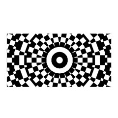 Checkered Black White Tile Mosaic Pattern Satin Wrap by CrypticFragmentsColors