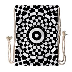 Checkered Black White Tile Mosaic Pattern Drawstring Bag (large) by CrypticFragmentsColors