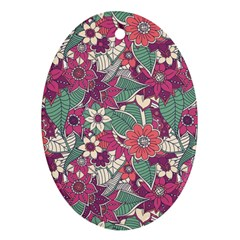 Seamless Floral Pattern Background Ornament (oval) by TastefulDesigns