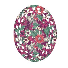 Seamless Floral Pattern Background Oval Filigree Ornament (two Sides) by TastefulDesigns