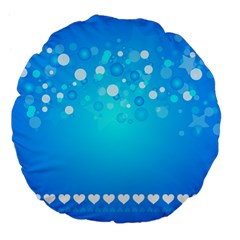 Blue Dot Star Large 18  Premium Flano Round Cushions by Simbadda