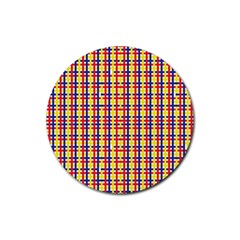 Yellow Blue Red Lines Color Pattern Rubber Coaster (round)  by Simbadda