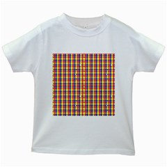 Yellow Blue Red Lines Color Pattern Kids White T-Shirts