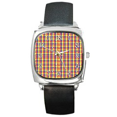Yellow Blue Red Lines Color Pattern Square Metal Watch by Simbadda