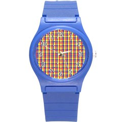 Yellow Blue Red Lines Color Pattern Round Plastic Sport Watch (s) by Simbadda