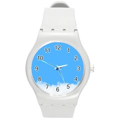 Blue Sky Clouds Day Round Plastic Sport Watch (m) by Simbadda