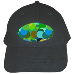 Green Aqua Teal Abstract Circles Black Cap by Simbadda