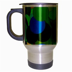 Green Aqua Teal Abstract Circles Travel Mug (silver Gray)