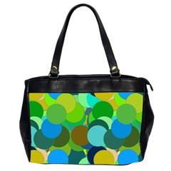 Green Aqua Teal Abstract Circles Office Handbags (2 Sides)  by Simbadda