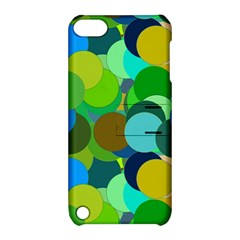 Green Aqua Teal Abstract Circles Apple Ipod Touch 5 Hardshell Case With Stand by Simbadda