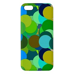 Green Aqua Teal Abstract Circles Apple Iphone 5 Premium Hardshell Case by Simbadda
