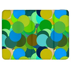 Green Aqua Teal Abstract Circles Samsung Galaxy Tab 7  P1000 Flip Case by Simbadda